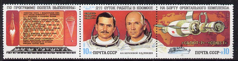 Russia 1983 Berezovoi & Lebedev 211 Days in Space set of 2 plus label unmounted mint, SG 5320-21, Mi 5267-68