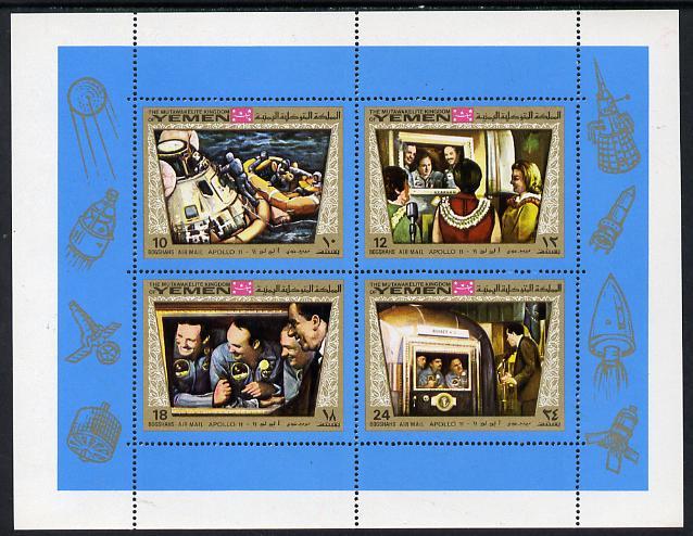 Yemen - Royalist 1969 Apollo 11 sheetlet containing 4 values unmounted mint (Mi 801-4)