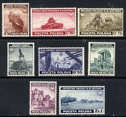 Poland 1941 Govt in Exile Pictorial set of 8 unmounted mint, SG 478-95, Mi 360-67