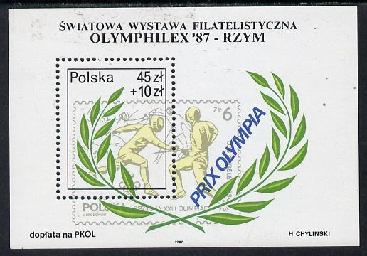 Poland 1987 Olymphilex 87 (Olympic Stamp Exhibition) m/sheet (Fencing) unmounted mint SG MS 3125, Mi BL 104