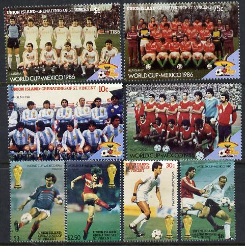 St Vincent - Union Island 1986 World Cup Football set of 8 unmounted mint, stamps on football  sport