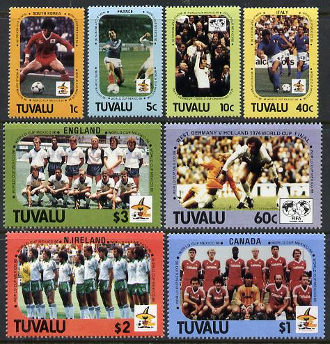 Tuvalu 1986 Football World Cup perf set of 8 unmounted mint, SG 388-95