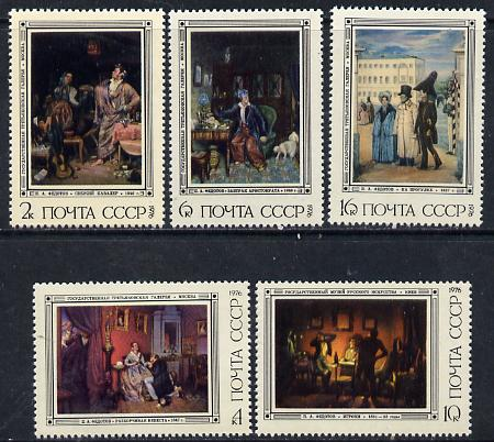 Russia 1976 Paintings by Fedotov set of 5 unmounted mint, SG 4526-30, Mi 4487-91*