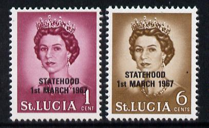 St Lucia 1967 unissued 1c & 6c with Statehood overprint in black unmounted mint