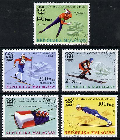 Malagasy Republic 1975 Winter Olympic Games set of 5 cto used, SG 330-34*