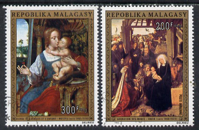 Malagasy Republic 1974 Christmas (Paintings) set of 2 cto used, SG 297-98*