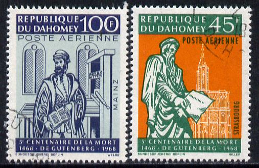 Dahomey 1968 Death Anniversary of Gutenberg set of 2 cto used, SG 325-26*