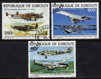 Djibouti 1979 Anniversary of Powered Flight set of 3 cto used, SG 760-62*