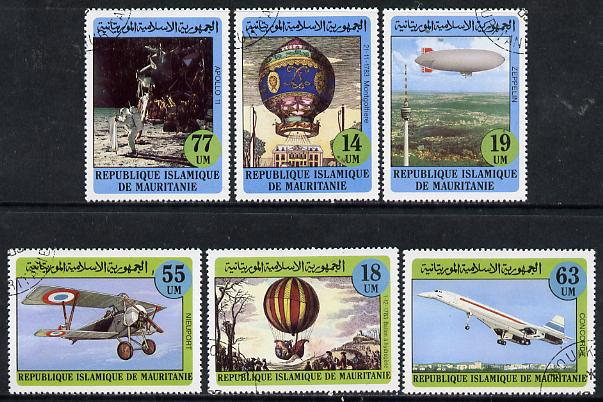 Mauritania 1983 Bicentenary of Manned Flight set of 6 cto used, SG 752-57*, stamps on aviation, stamps on balloons, stamps on airships, stamps on zeppelins, stamps on apollo, stamps on concorde