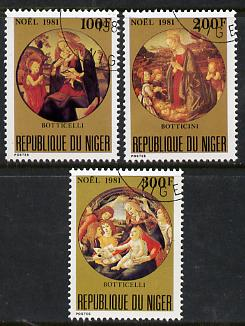 Niger Republic 1981 Christmas (Paintings of Madonna & Child) set of 3 cto used, SG 880-82