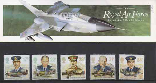 Great Britain 1986 History of the Royal Air Force set of 5 in official presentation pack SG 1336-40