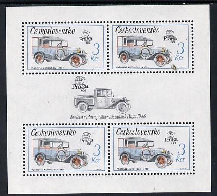 Czechoslovakia 1987 'Praga 88' 3kcs Mail van in sheetlet of 4 with decorative gutter unmounted mint (as SG 2881)