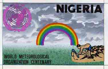 Nigeria 1973 IMO - WMO Centenary - original hand-painted artwork for 30k value (Tree Planting & Rainbow) by unknown artist on card 10 x 6