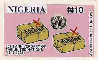 Nigeria 1995 50th Anniversary of United Nations - original hand-painted artwork for N10 value (Say No To Hard Drugs) on board 8.5 x 5 endorsed D2