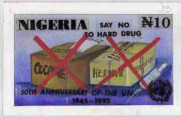 Nigeria 1995 50th Anniversary of United Nations - original hand-painted artwork for N10 value by Remi Adeyemi (Say No To Hard Drugs) on board 8.5 x 5 endorsed D3