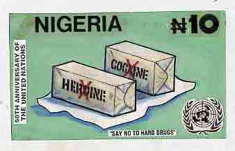 Nigeria 1995 50th Anniversary of United Nations - original hand-painted artwork for N10 value by Godrick N Osuji (Say No To Hard Drugs) on card 8.5 x 5 endorsed D1
