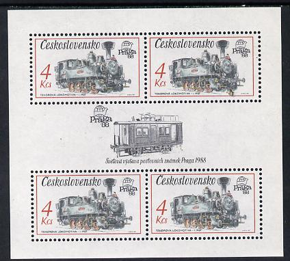 Czechoslovakia 1987 'Praga 88' 4kcs Tank Locomotives in sheetlet of 4 with decorative gutter unmounted mint (as SG 2882)