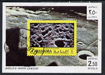 Manama 1970 Space Flight imperf m/sheet showing Apollo 8 stamp cto used, Mi BL 69