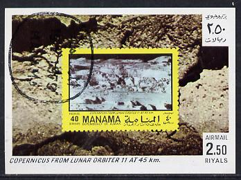 Manama 1970 Space Flight imperf m/sheet showing Copernicus stamp cto used, Mi BL 80