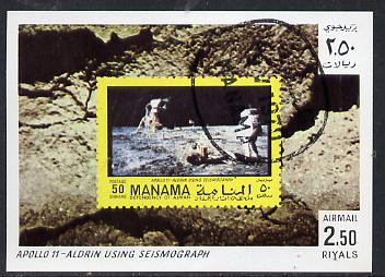 Manama 1970 Space Flight imperf m/sheet showing Apollo 11 stamp cto used, Mi BL 81