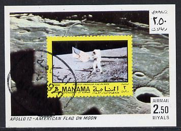 Manama 1970 Space Flight imperf m/sheet showing Apollo 12 stamp cto used, Mi BL 67