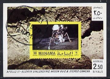 Manama 1970 Space Flight imperf m/sheet showing Apollo 11 stamp cto used, Mi BL 78