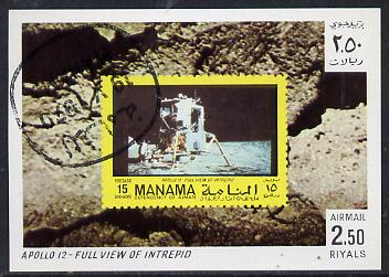 Manama 1970 Space Flight imperf m/sheet showing Apollo 12 stamp cto used, Mi BL 75
