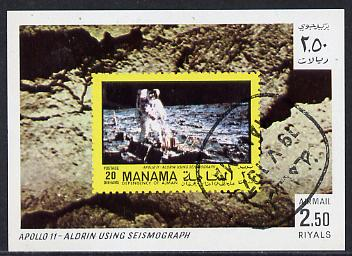 Manama 1970 Space Flight imperf m/sheet showing Apollo 11 stamp cto used, Mi BL 76