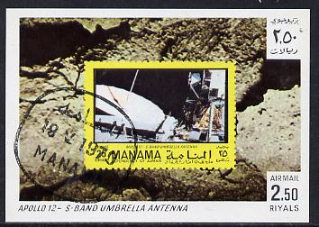 Manama 1970 Space Flight imperf m/sheet showing Apollo 12 stamp cto used, Mi BL 77, stamps on , stamps on  stamps on space, stamps on stamp on stamp, stamps on  stamps on stamponstamp