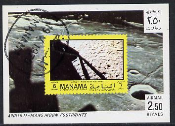 Manama 1970 Space Flight imperf m/sheet showing Apollo 11 stamp cto used, Mi BL 71