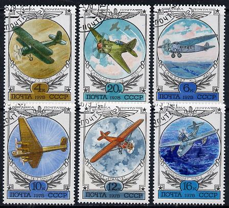 Russia 1978 Early Russian Aircraft (4th series) set of 6 cto used, SG 4791-96, Mi 4751-56*