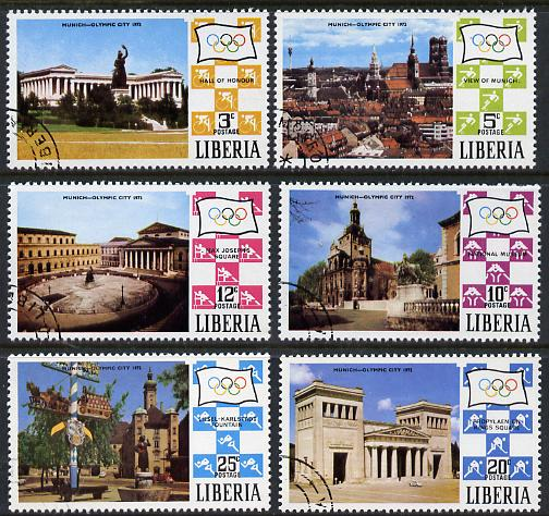 Liberia 1971 Munich Olympic Games (Views of Munich) set of 6 cto used, SG 1067-72*