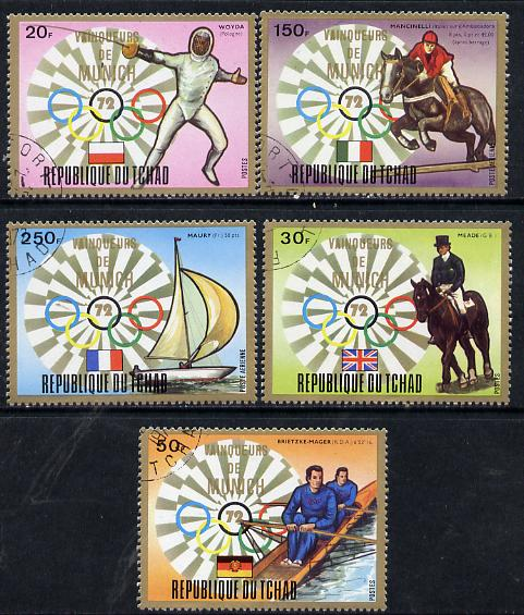 Chad 1972 Munich Olympic Winners (Gold Frames) set of 5 cto used