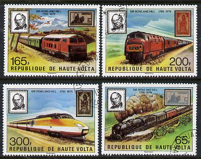 Upper Volta 1979 Sir Rowland Hill set of 4 (Trains & Stamps) cto used, SG 523-26