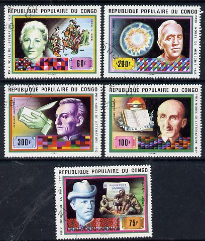 Congo 1978 Nobel Prize Winners set of 5 cto used, SG 610-14*