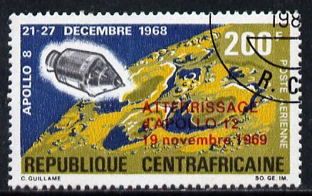 Central African Republic 1970 Apollo 12 Moon Landing opt'd 'ATTERRISSAGE d'APOLLO 12' cto used, SG 215
