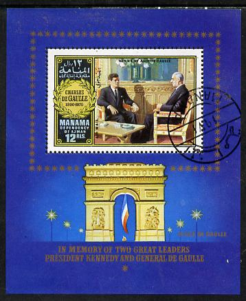 Manama 1972 Charles de Gaulle m/sheet (Seated with Kennedy) cto used, Mi BL 130A