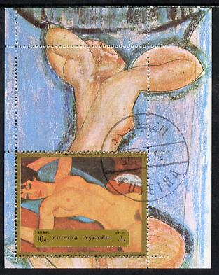 Fujeira 1972 Paintings (Nude) by Modigliani 10r m/sheet cto used, Mi BL 118A