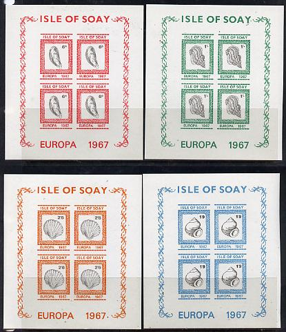 Isle of Soay 1967 Europa (Shells) set of 4 each in imperf sheetlet of 4 unmounted mint