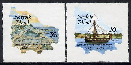 Norfolk Island 1975 Anniversary of Second Settlement self-adhesive set of 2 in shape of Map, SG 163-64 unmounted mint*
