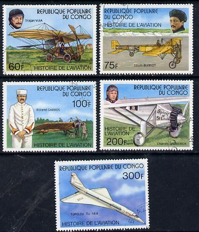 Congo 1977 Aviation History set of 5 cto used, SG 583-87*