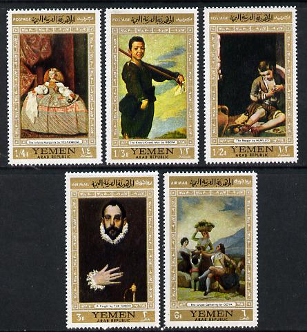 Yemen - Republic 1967 Paintings (Spanish Masters gold borders) perf set of 5 unmounted mint, Mi 602-606A