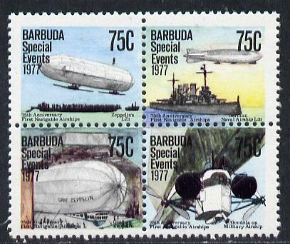 Barbuda 1977 75th Anniversary of Navigable Airships 75c se-tenant block of 4 unmounted mint from Special Events set, SG 363a