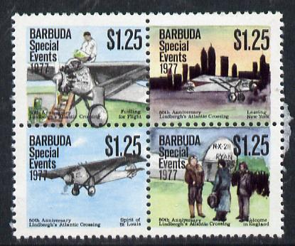 Barbuda 1977 50th Anniversary of Lindbergh's Transatlantic Flight $1.25 se-tenant block of 4 unmounted mint from Special Events set, SG 371a