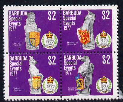 Barbuda 1977 Silver Jubilee $2 se-tenant block of 4 unmounted mint from Special Events set, SG 375a, stamps on royalty    silver jubilee