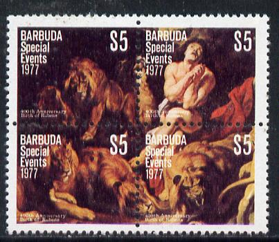 Barbuda 1977 400th Birth Anniversary of Rubens $5 se-tenant block of 4 from Special Events set of 20 unmounted mint, SG 382a