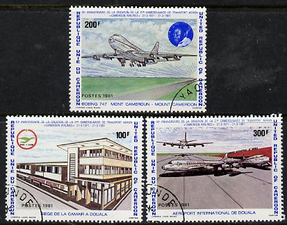 Cameroun 1991 10th Anniversary of Airlines set of 3 cto used, SG 899-901*