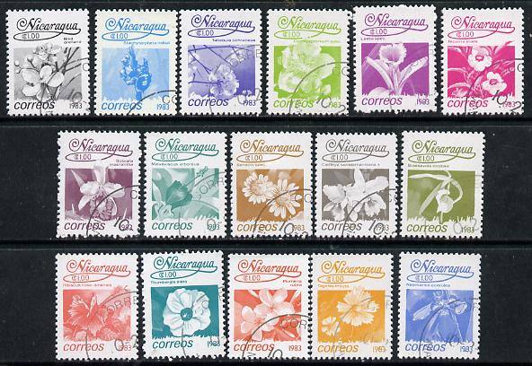 Nicaragua 1983 Flowers set of 16 cto used, SG 2441-56*