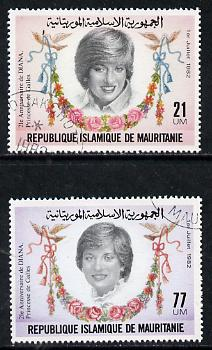Mauritania 1982 Princess Di's 21st Birthday set of 2 cto used, SG 733-34*