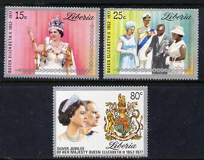 Liberia 1977 Silver-Jubilee perf set of 3 unmounted mint, SG 1320-22